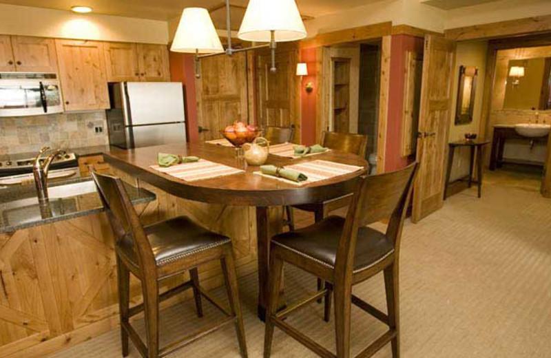 Cabin kitchen at Teton Springs Lodge.