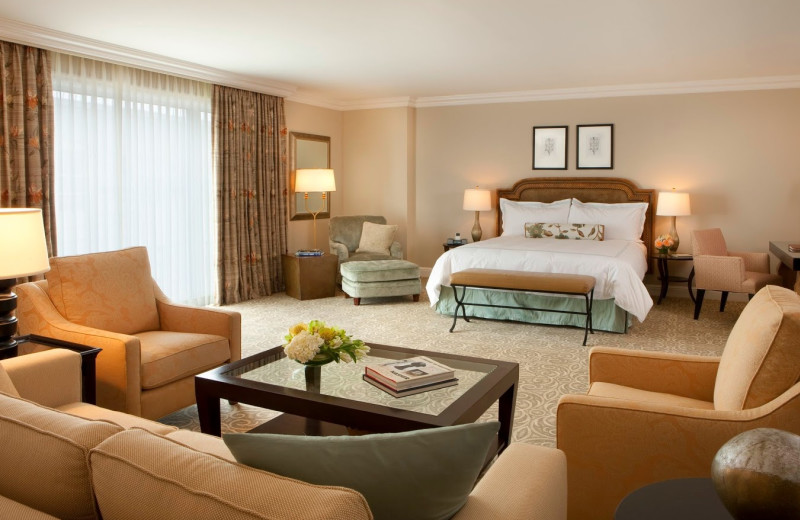 Guest room at Rosewood Crescent Hotel.