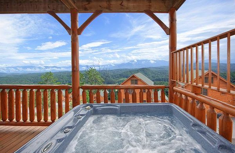 The hot tub is perfect after a long day of hiking in the Great Smoky Mountain national Park.