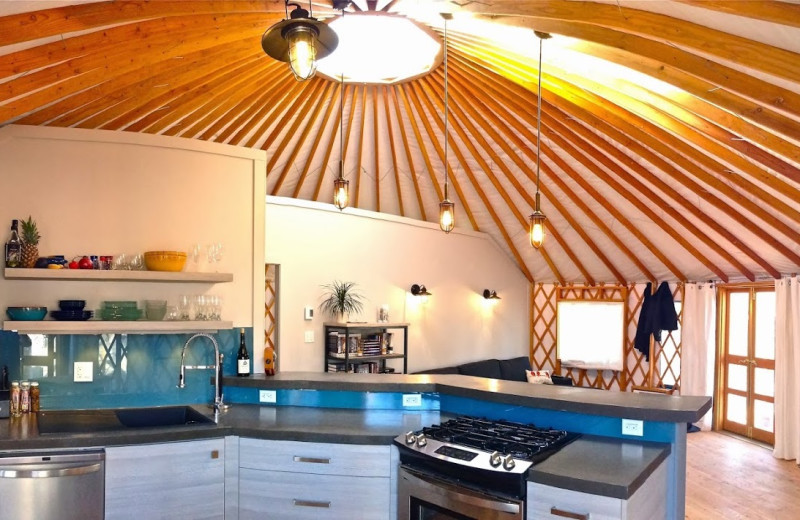 Yurt interior at Barefoot Beach Resort.