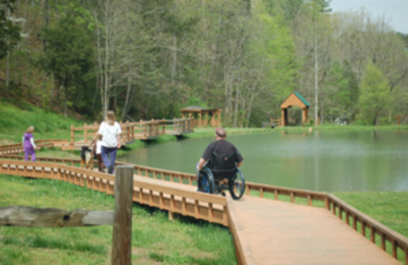 Wheelchair Accessible fishing pond at  Little Valley Mountain Resort
