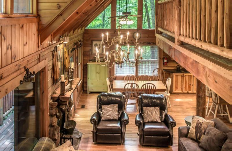 Rental living room at Natural Retreats Great Smoky Mountains.