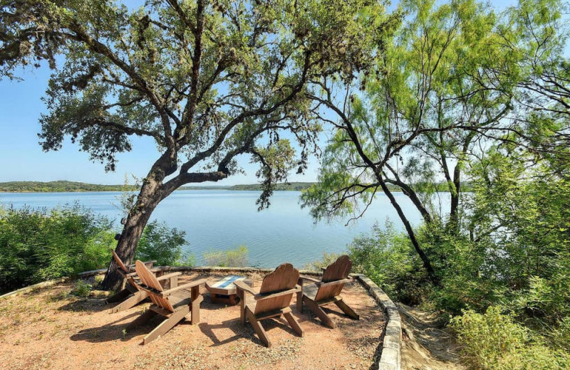 Lake view at Serene Hill Country Home.