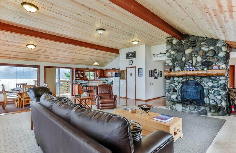 Living room at Alaska's Big Salmon Lodge.