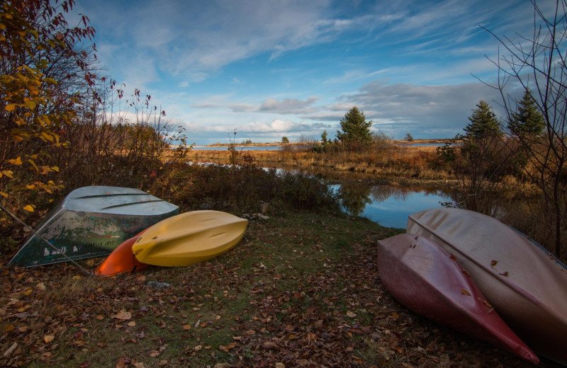 Kayaks at Cabot Shores Wilderness Resort.