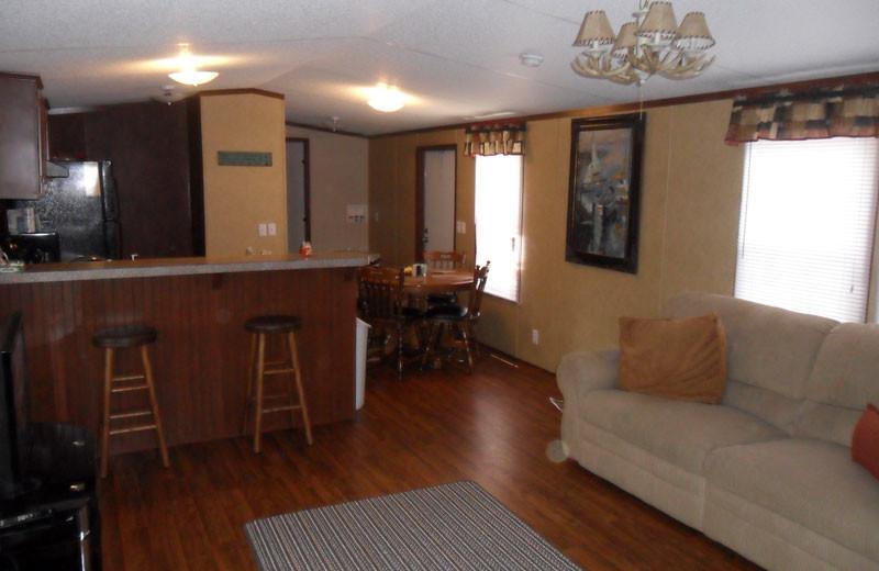 Cottage interior at King Creek Resort & Marina.