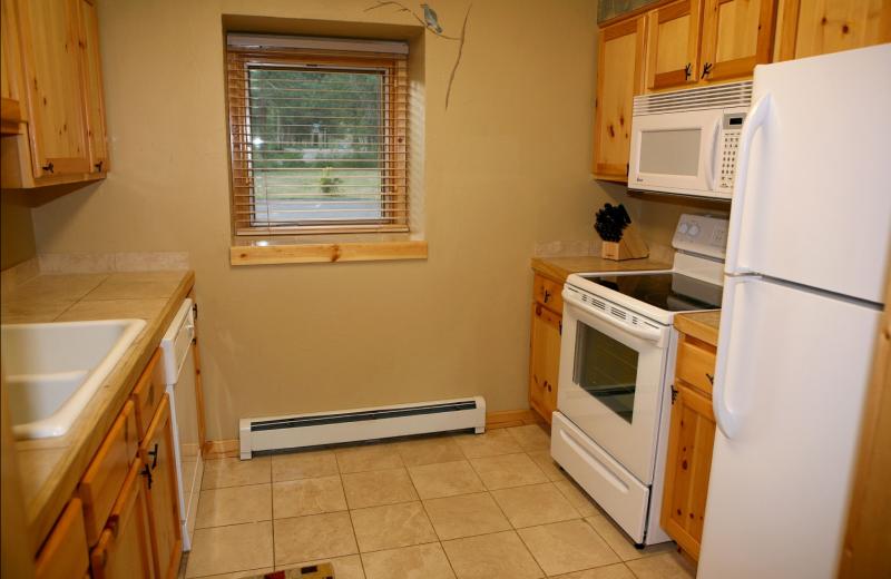 Condo kitchen at Bear Creek Vacation Condos.