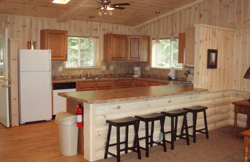 Cabin kitchen at White Birch Village Resort.