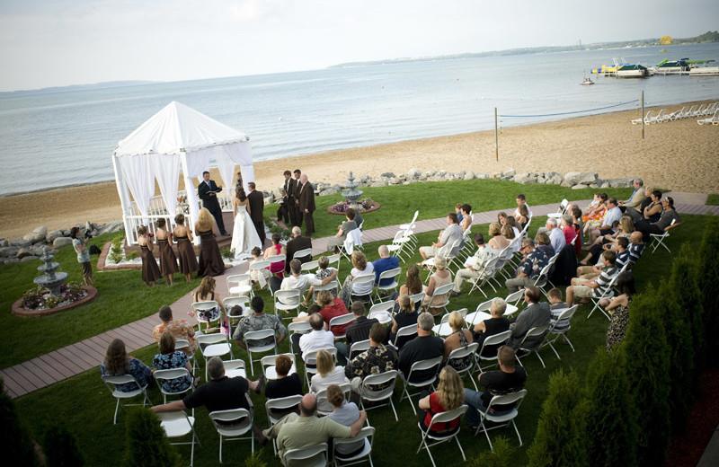 Beach wedding at ParkShore Resort.