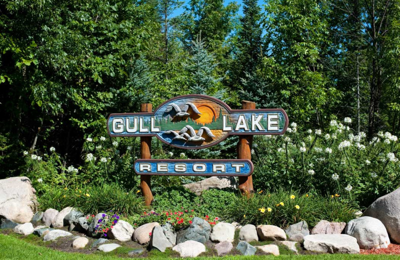 Welcome sign at Gull Lake Resort.
