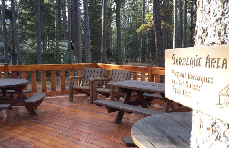 Cabin deck at Johnston Canyon Resort.