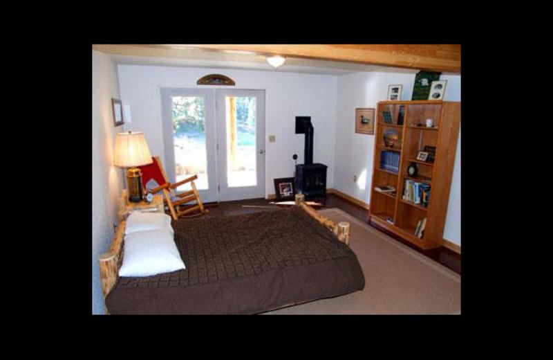 Lodge bedroom at Clark Fork River Lodge.