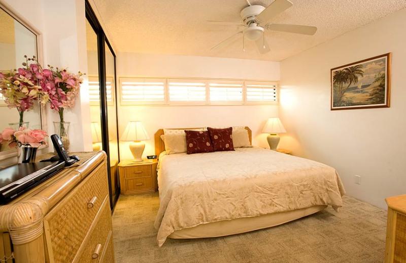 Vacation rental bedroom at Sugar Beach Resort.