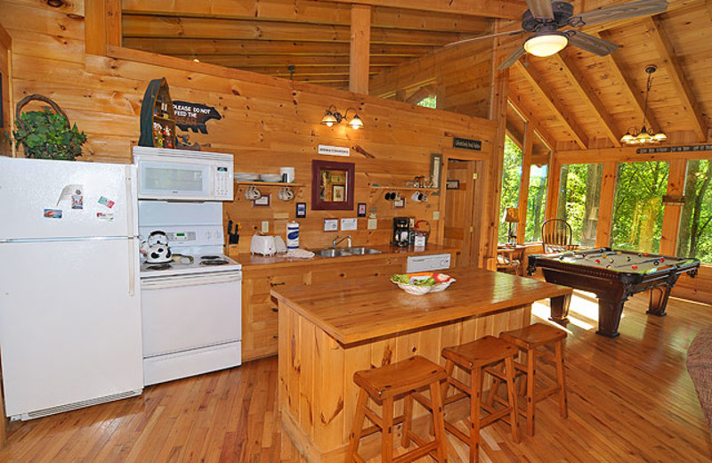 Cabin kitchen at American Mountain Rentals.