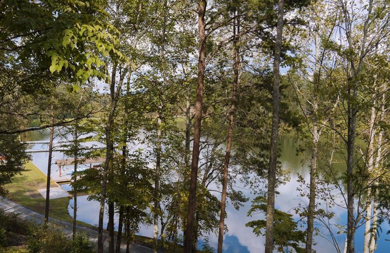 Lake view at Yogi Bear's Camp Golden Valley.