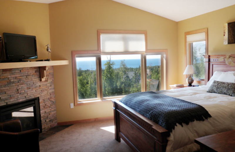 Guest bedroom at Lutsen Lodging Company.