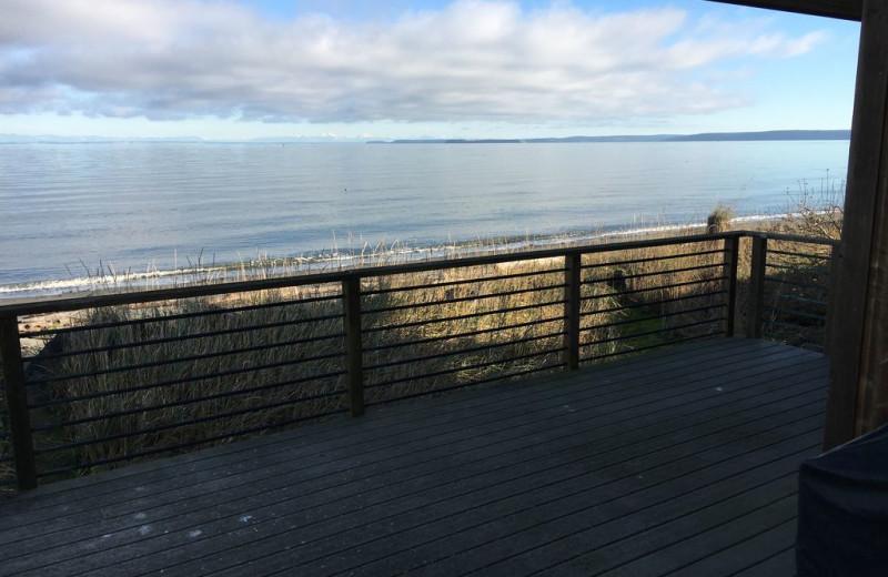 Deck view at Dungeness Beach Retreat.