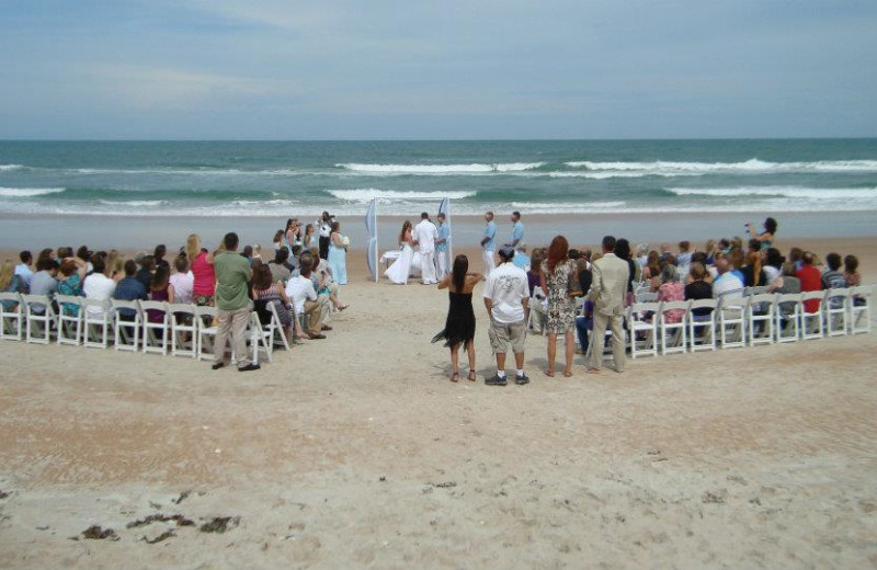 Beach wedding at Coral Sands Oceanfront Resort.