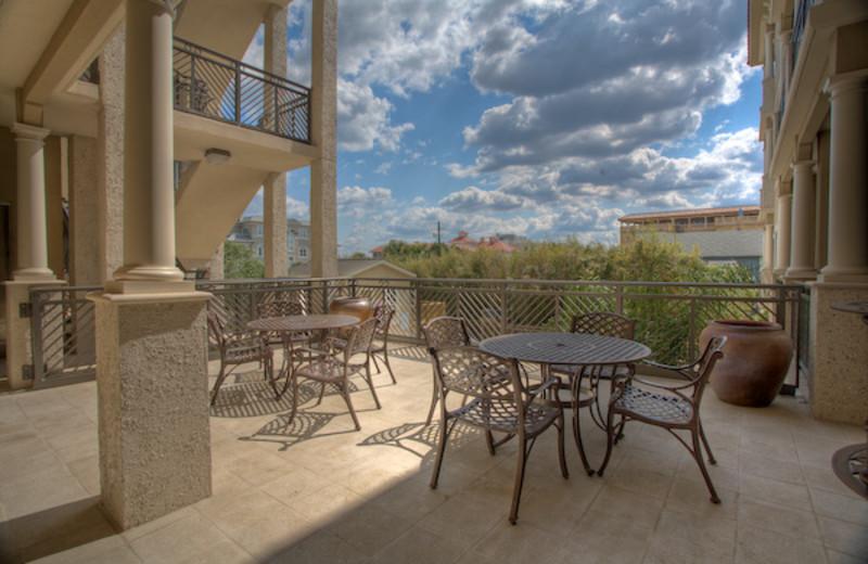 Outdoor patio at Sea Gate Inn.