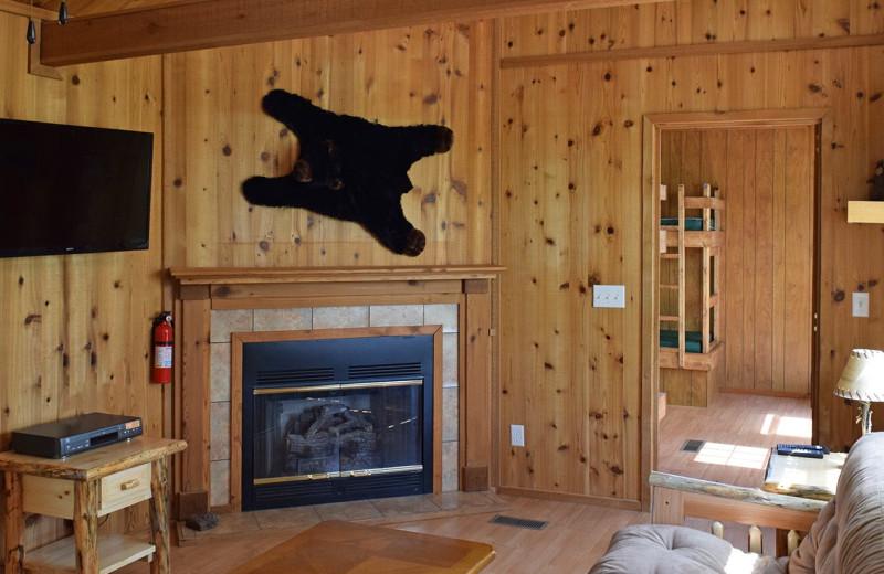 Cabin living room at Yogi Bear's Jellystone Park Hagerstown.