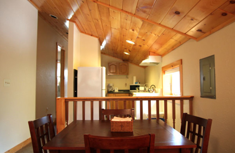 Cottage kitchen and dining room at Phoenicia Lodge.