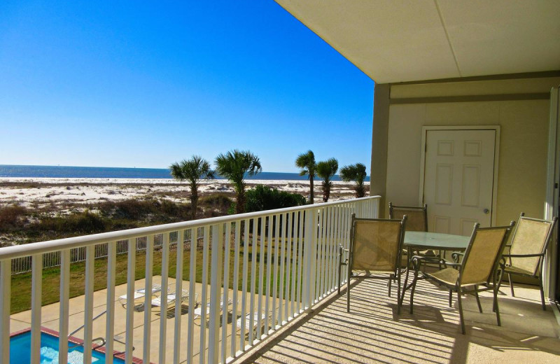 Rental balcony at Beachfront Rentals.