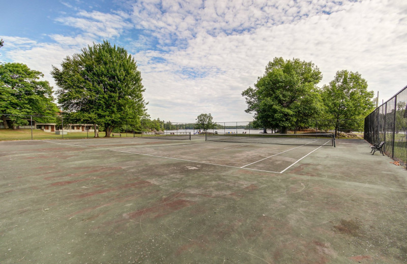 Tennis court at Delawana Resort.
