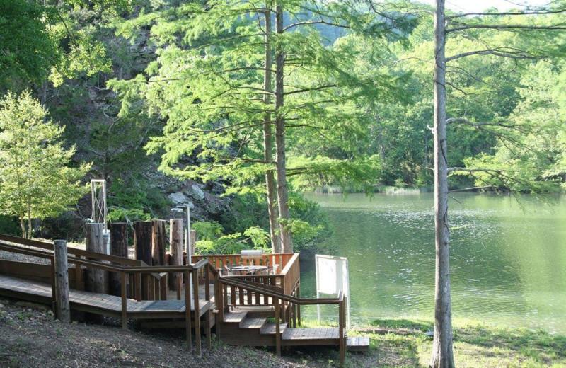 Cabin patio at Lake Mountain Cabins.