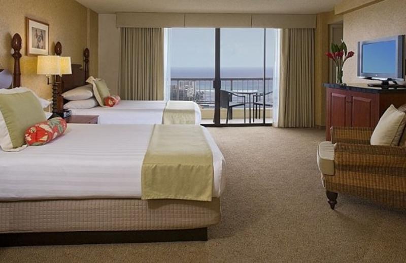 Guest room at Hyatt Regency Waikiki Resort & Spa.