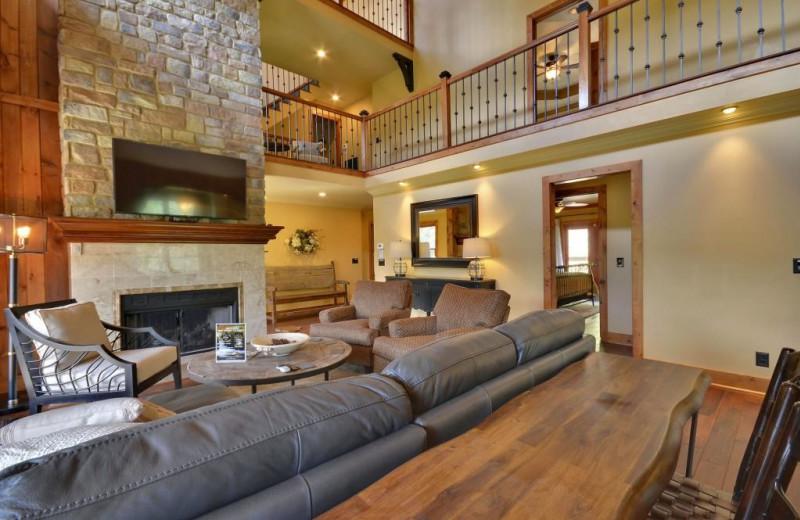 Rental living room at Stony Brook Cabins LLC.
