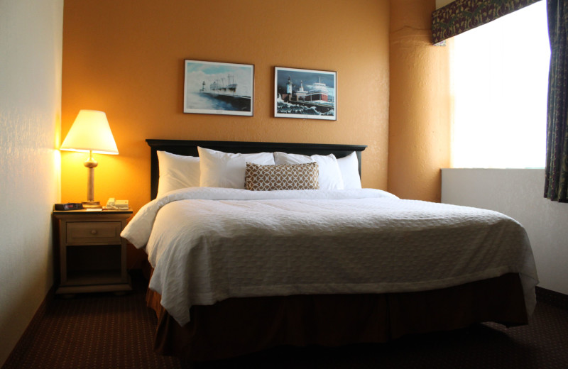 Guest room at The Suites Hotel at Waterfront Plaza.