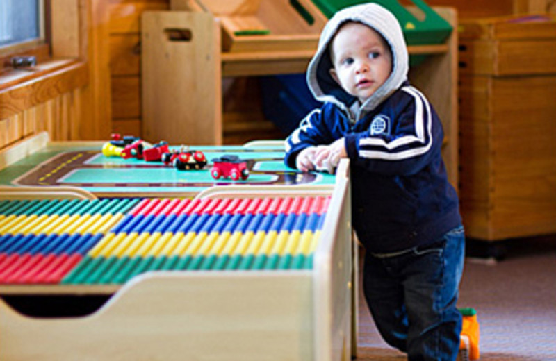 There are many different games and toys for young children in the lodge at Half Moon Trail Resort.