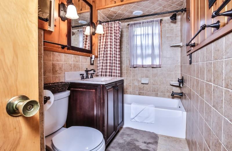 Cabin bathroom at Serenity Bay Resort.