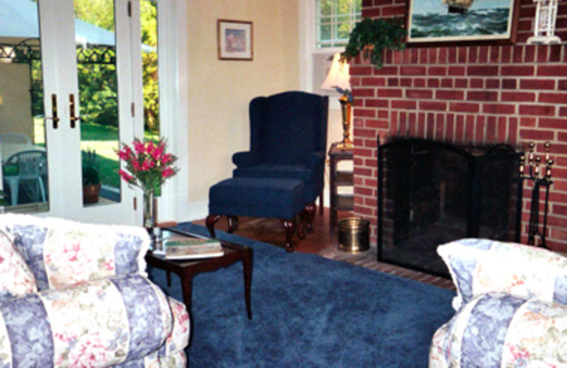 Living Room Fireplace at Cottage at Long Haul
