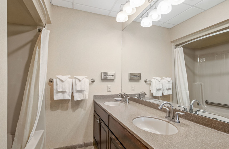 Guest bathroom at Woodloch Resort.
