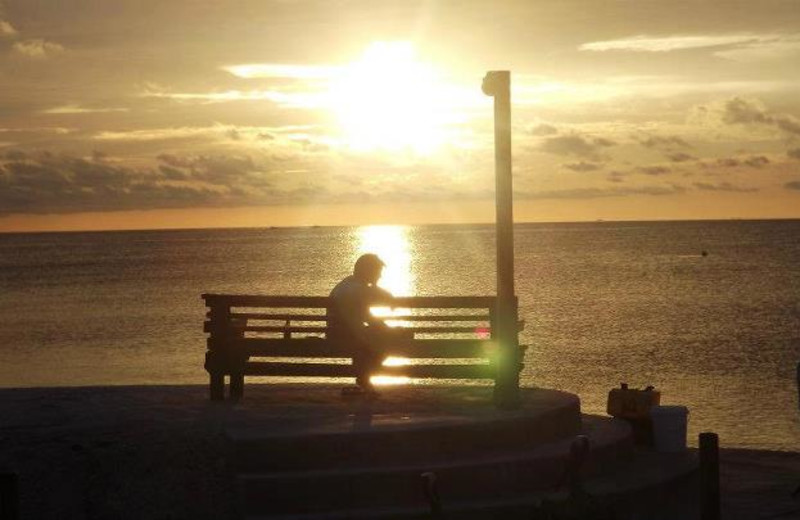 Person on bench with sunset over ocean at Coral Bay Resort.