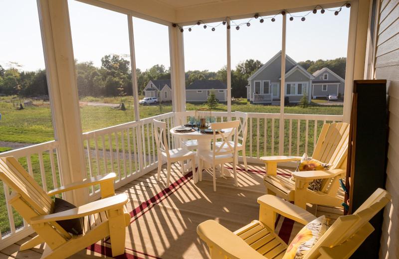Cottage porch at Sandbanks Summer Village Cottage Resort.