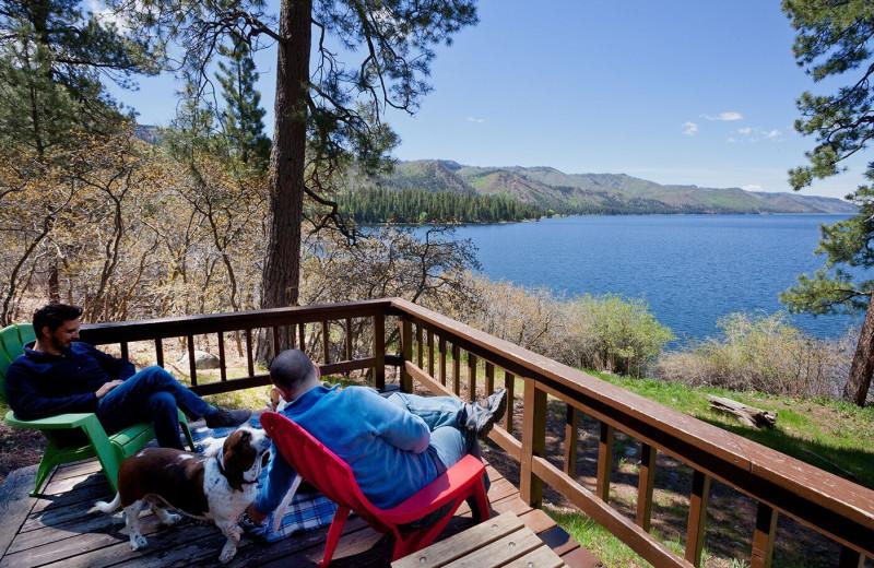 Cabin deck at Elk Point Lodge.