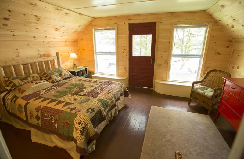 Cottage bedroom at Palmer Point Cottages.