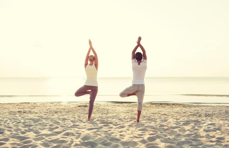 Morning yoga at Sojourn Lakeside Resort.
