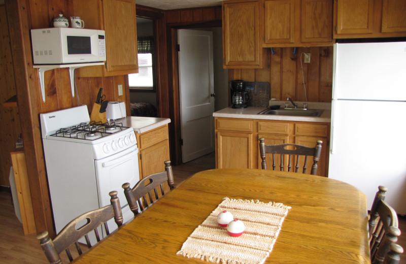 Cabin kitchen at Mill Lake Resort.