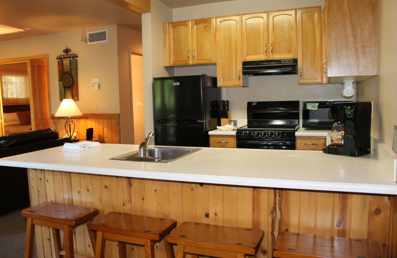 Cabin kitchen at Mount Shasta Resort.