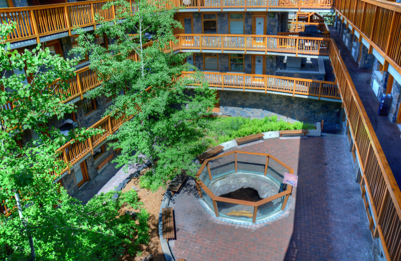 Courtyard at The Fox Hotel & Suites in Banff.