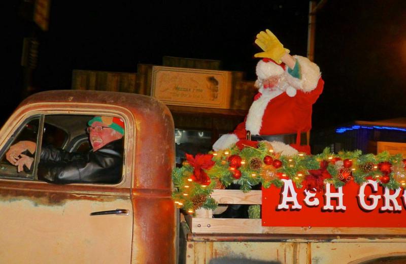 Santa arrives at Newton Fork Ranch.