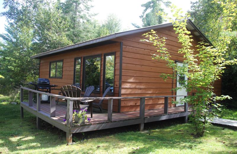 Cabin exterior at Cedar Island Lodge.