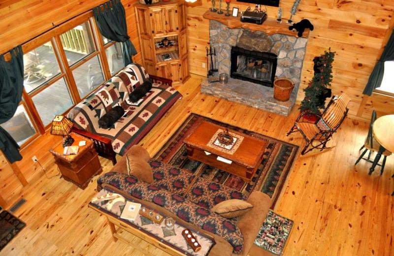 Cabin living room at Cuddle Up Cabin Rentals.