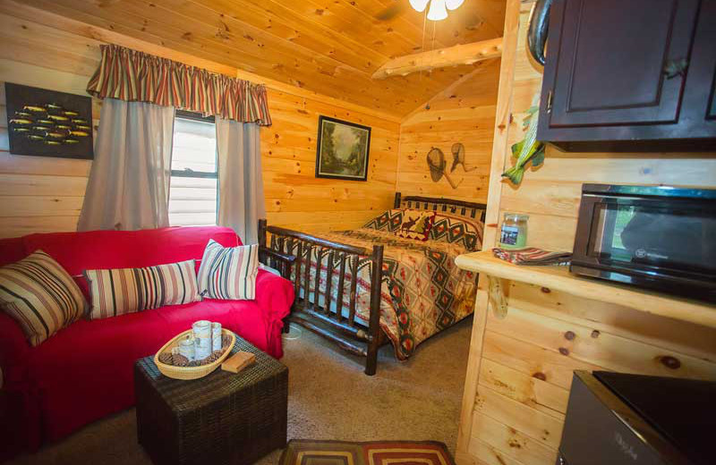 Cabin interior at White Lake Lodges.