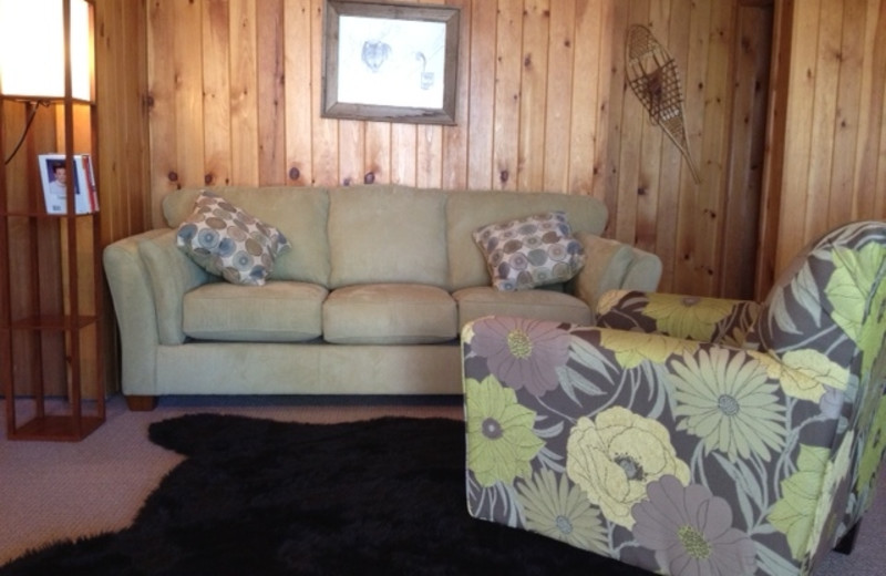 Cabin living room at Timber Wolf Lodge Cabins.