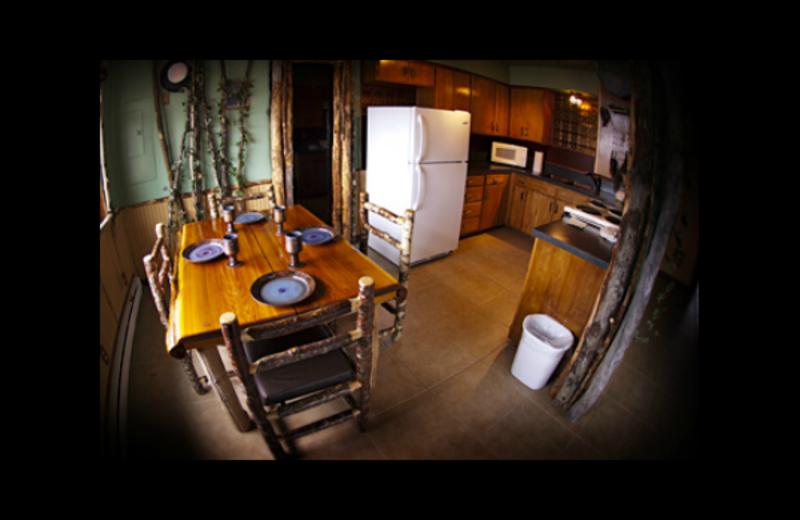Cabin kitchen at Quileute Oceanside Resort.