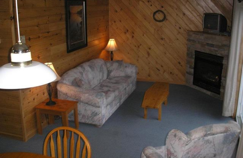 Cabin living room at Pleasant Cove Resort.